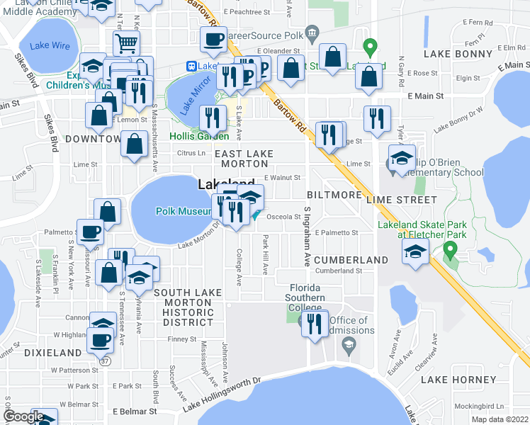 map of restaurants, bars, coffee shops, grocery stores, and more near 814 Osceola Street in Lakeland