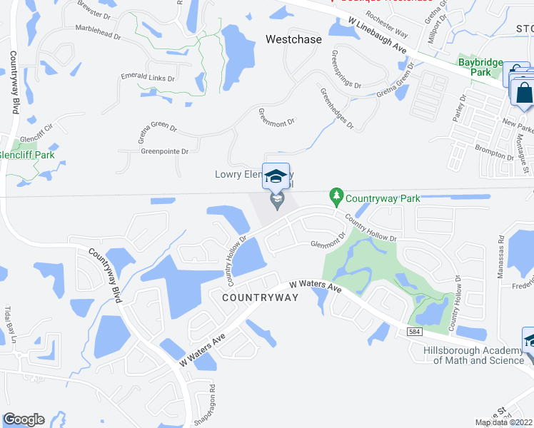 map of restaurants, bars, coffee shops, grocery stores, and more near 11505 Country Hollow Drive in Tampa