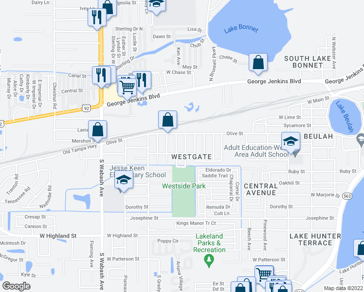 map of restaurants, bars, coffee shops, grocery stores, and more near 505 Choctaw Avenue in Lakeland
