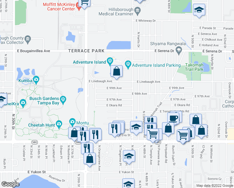 map of restaurants, bars, coffee shops, grocery stores, and more near East 98th Avenue in Tampa