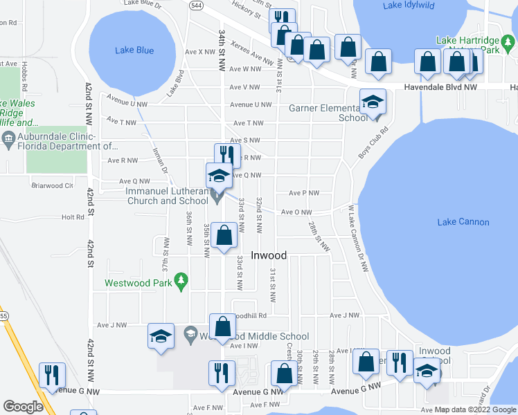 map of restaurants, bars, coffee shops, grocery stores, and more near 1484 32nd Street Northwest in Winter Haven