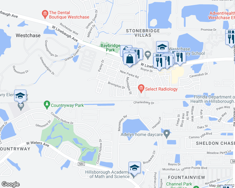 map of restaurants, bars, coffee shops, grocery stores, and more near 10007 Tate Lane in Tampa
