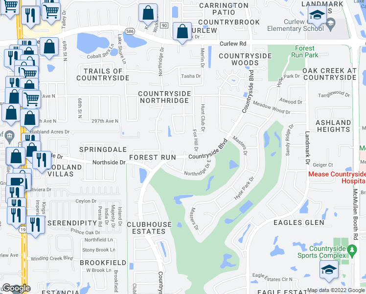 map of restaurants, bars, coffee shops, grocery stores, and more near 3268 Springwood Drive in Clearwater