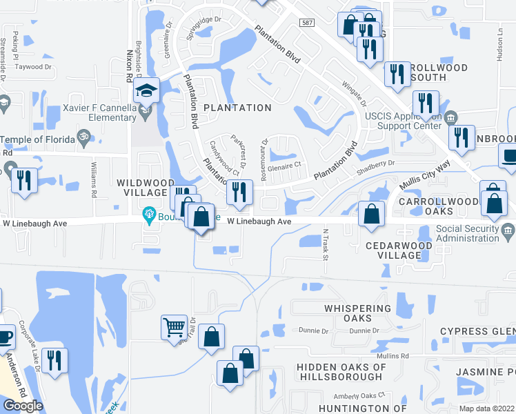 map of restaurants, bars, coffee shops, grocery stores, and more near 10313 Delmar Circle in Tampa