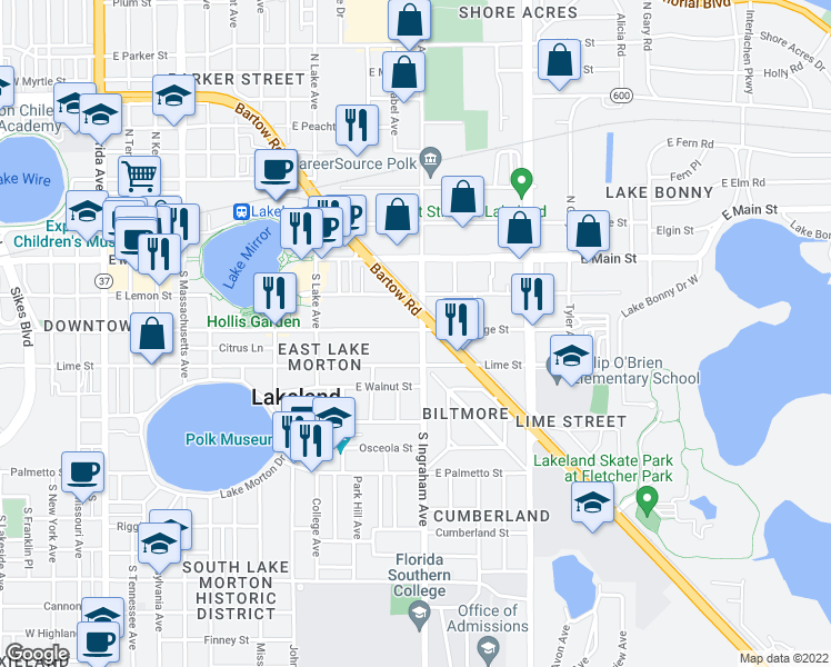 map of restaurants, bars, coffee shops, grocery stores, and more near 953 East Orange Street in Lakeland