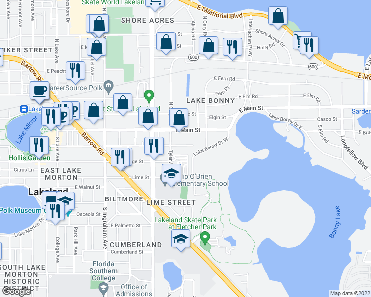 map of restaurants, bars, coffee shops, grocery stores, and more near 1329 East Lemon Street in Lakeland