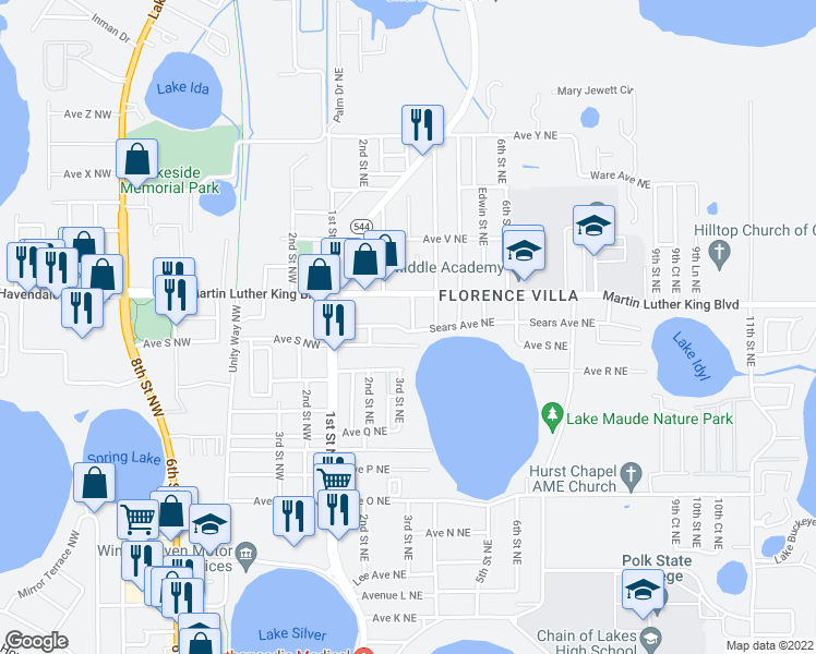map of restaurants, bars, coffee shops, grocery stores, and more near 1901 3rd Street Northeast in Winter Haven