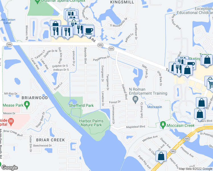 map of restaurants, bars, coffee shops, grocery stores, and more near 435 Evergreen Drive in Oldsmar