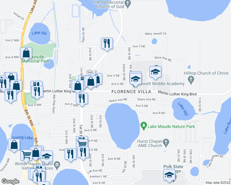 map of restaurants, bars, coffee shops, grocery stores, and more near 503-507 Avenue T Northeast in Winter Haven