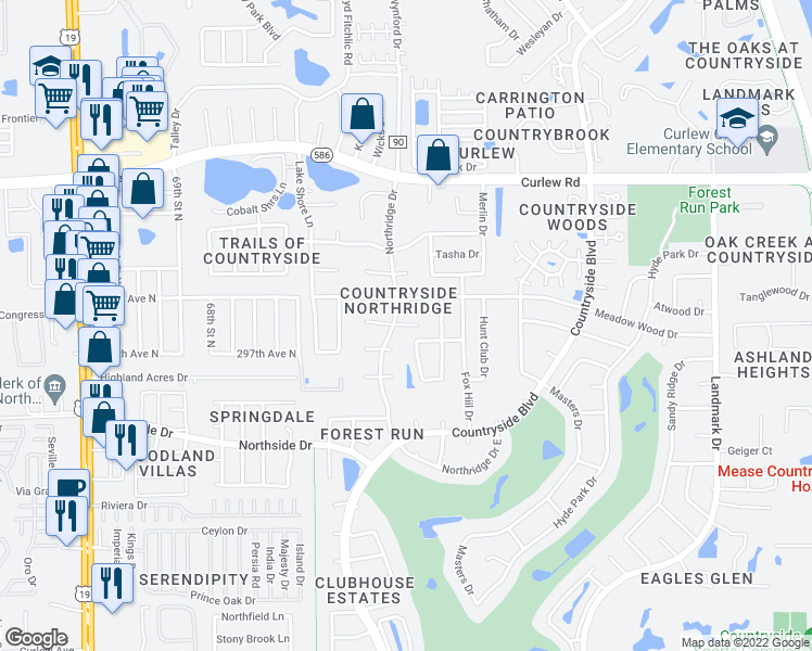 map of restaurants, bars, coffee shops, grocery stores, and more near Redford Court East in Clearwater