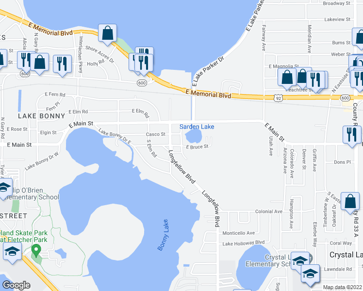 map of restaurants, bars, coffee shops, grocery stores, and more near Burbank Avenue in Lakeland