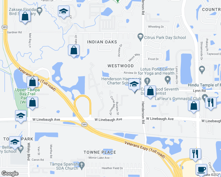 map of restaurants, bars, coffee shops, grocery stores, and more near 6612 Winding Oak Drive in Tampa