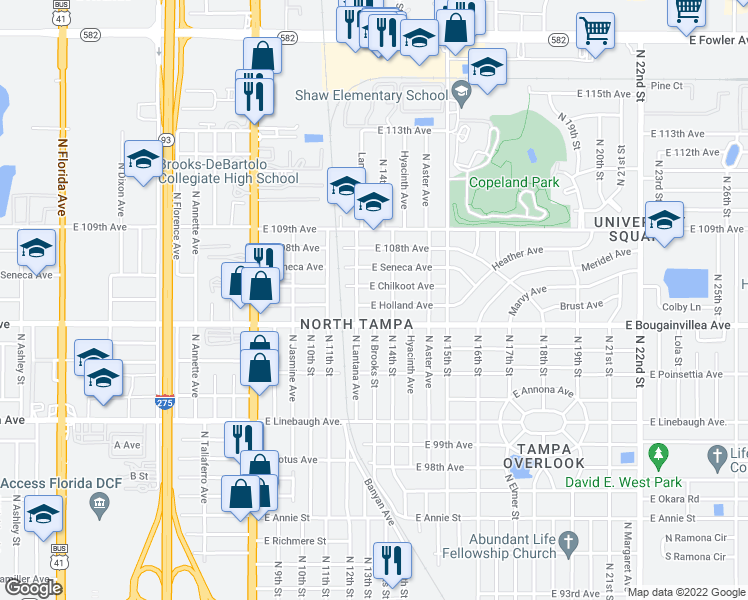 map of restaurants, bars, coffee shops, grocery stores, and more near 1208 East Holland Avenue in Tampa