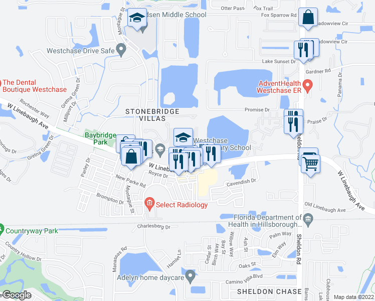 map of restaurants, bars, coffee shops, grocery stores, and more near 9791 Westchase Drive in Tampa