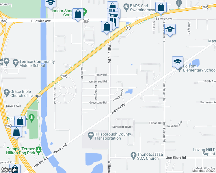 map of restaurants, bars, coffee shops, grocery stores, and more near 9410 Eastfield Road in Thonotosassa