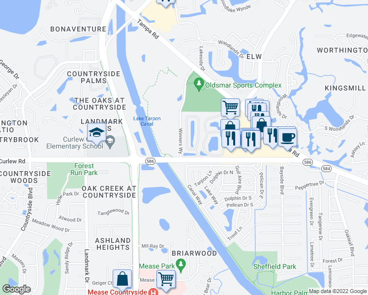 map of restaurants, bars, coffee shops, grocery stores, and more near 435 Countryside Key Boulevard in Oldsmar