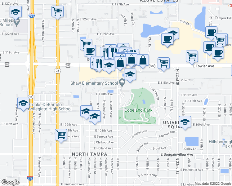 map of restaurants, bars, coffee shops, grocery stores, and more near 11302 North 15th Street in Tampa