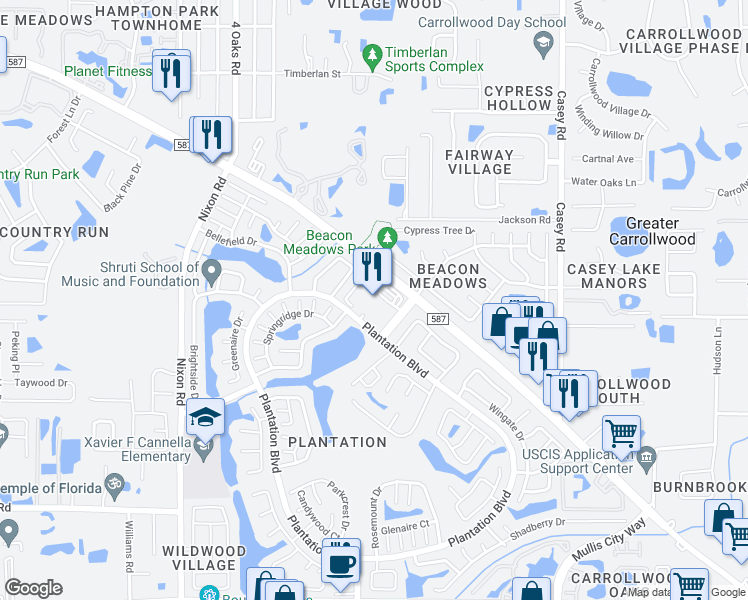 map of restaurants, bars, coffee shops, grocery stores, and more near 4802 Gunn Highway in Tampa