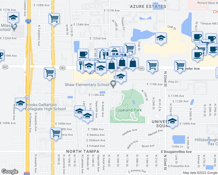 map of restaurants, bars, coffee shops, grocery stores, and more near 11308 North 15th Street in Tampa