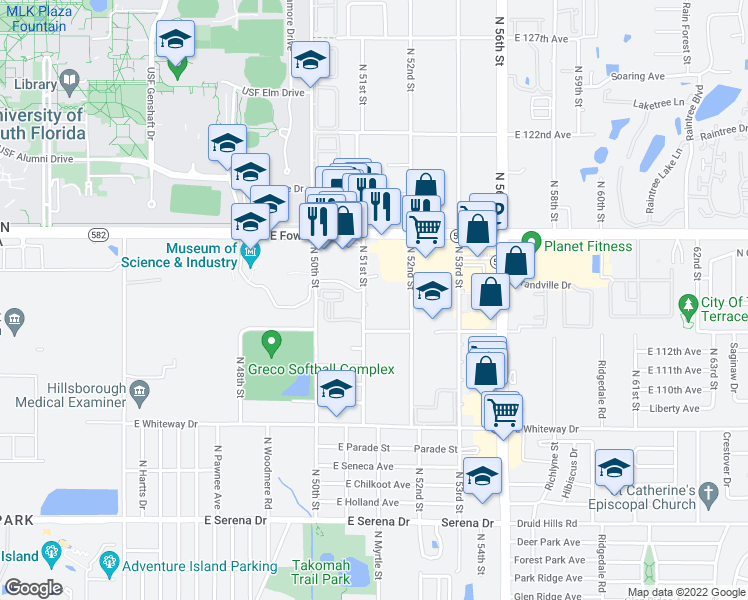map of restaurants, bars, coffee shops, grocery stores, and more near 11305 North 51st Street in Tampa