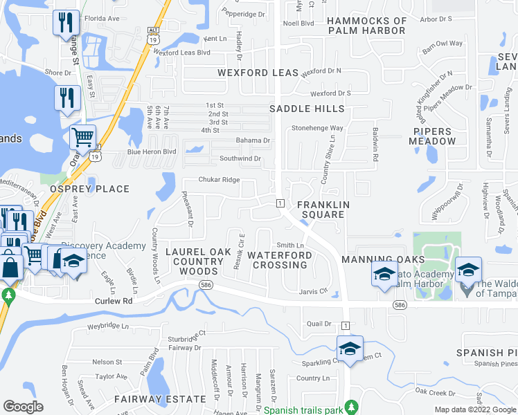 map of restaurants, bars, coffee shops, grocery stores, and more near 2885-2891 Armadillo Drive in Palm Harbor