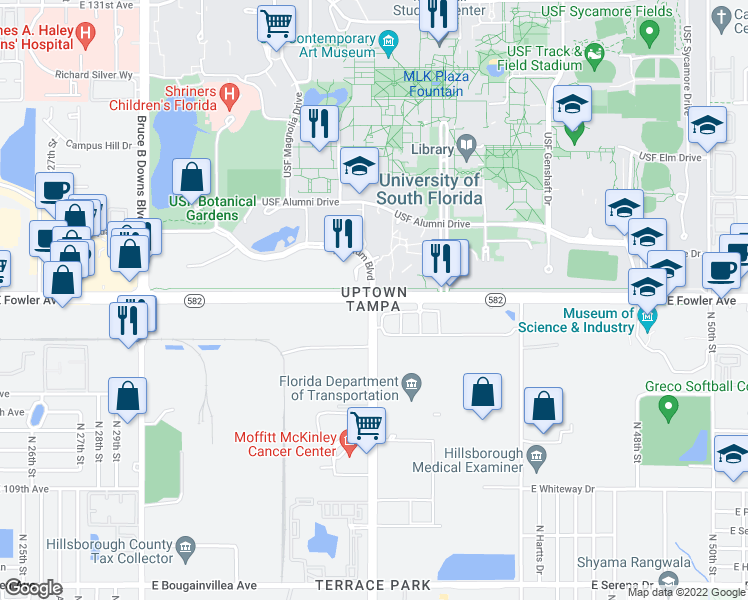 map of restaurants, bars, coffee shops, grocery stores, and more near E Fowler Ave & McKinley Dr in Tampa