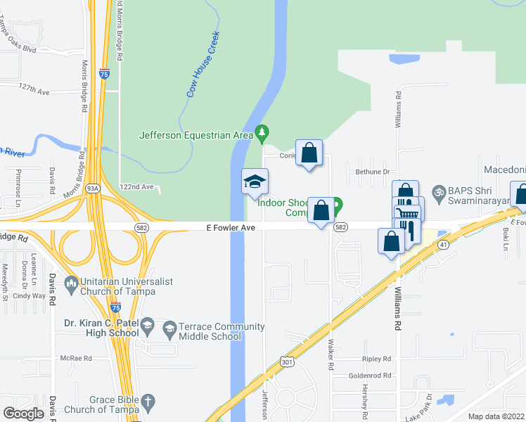 map of restaurants, bars, coffee shops, grocery stores, and more near 9180 East Fowler Avenue in Thonotosassa