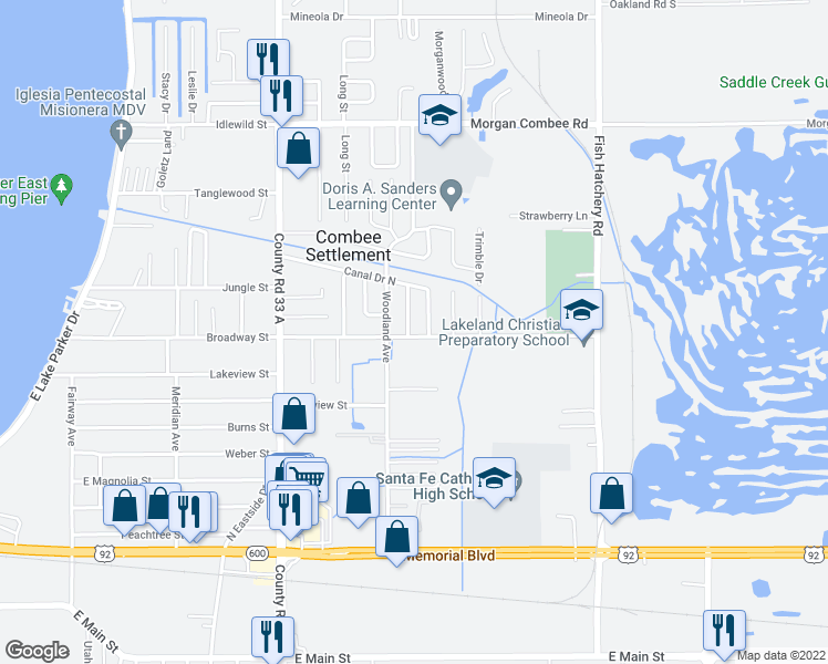 map of restaurants, bars, coffee shops, grocery stores, and more near 1003 Meadow Avenue in Lakeland