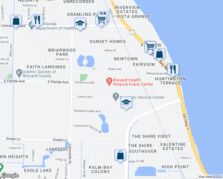 map of restaurants, bars, coffee shops, grocery stores, and more near 2279 Randolph Street in Palm Bay