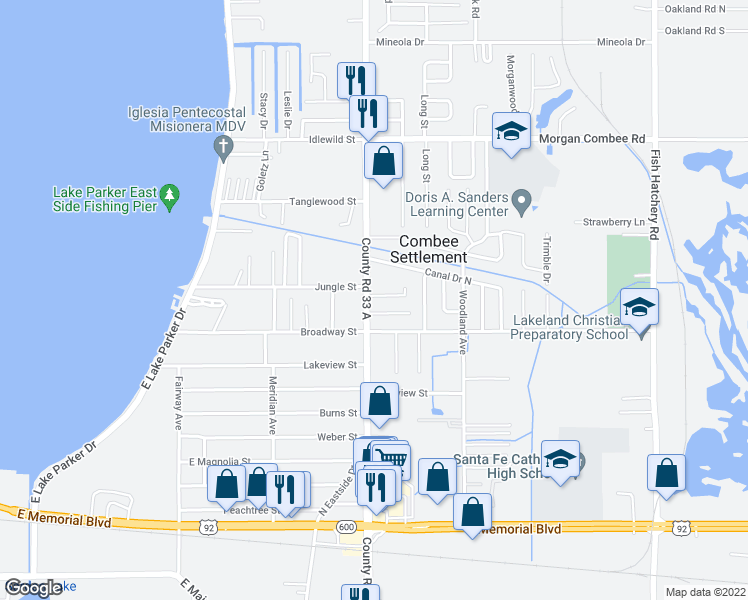 map of restaurants, bars, coffee shops, grocery stores, and more near 2605 Jungle Street in Lakeland