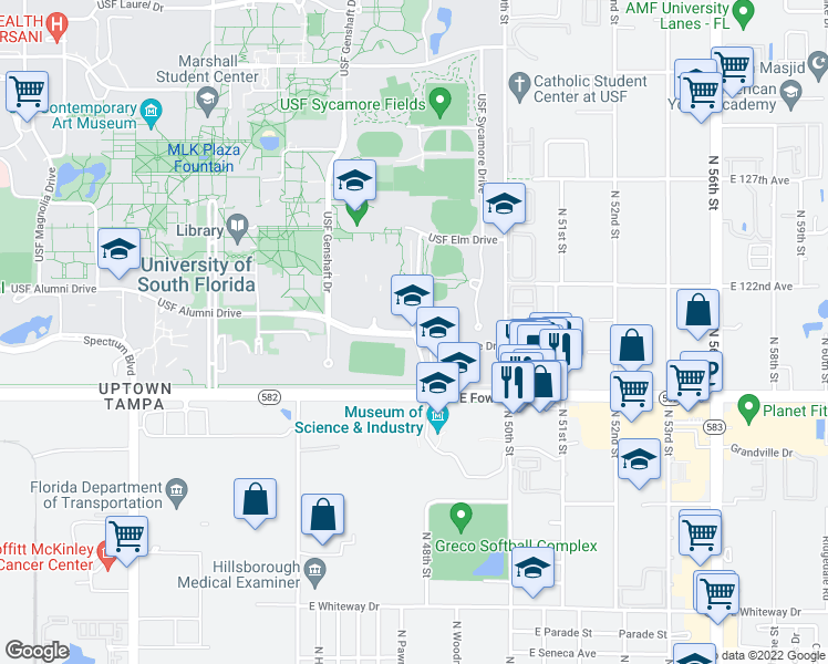 map of restaurants, bars, coffee shops, grocery stores, and more near 11738-11744 USF Bull Run Drive in Tampa