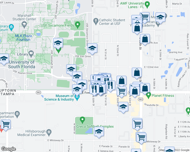 map of restaurants, bars, coffee shops, grocery stores, and more near 5040 Terrace Palms Circle in Tampa