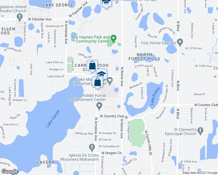map of restaurants, bars, coffee shops, grocery stores, and more near 2002 Pine Lake Drive in Tampa