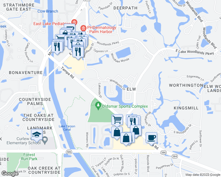 map of restaurants, bars, coffee shops, grocery stores, and more near 101-121 Lakeview Place in Oldsmar