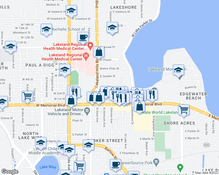 map of restaurants, bars, coffee shops, grocery stores, and more near 1104 Gilmore Avenue in Lakeland