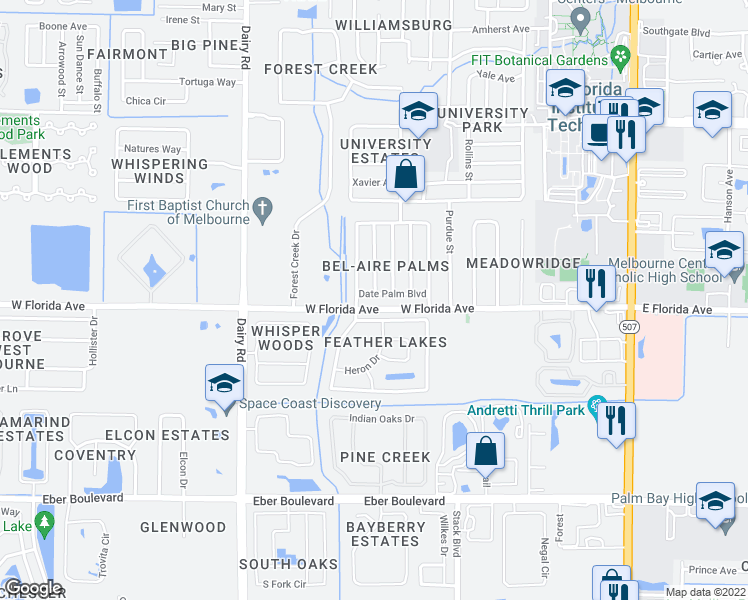 map of restaurants, bars, coffee shops, grocery stores, and more near 711 Date Palm Boulevard in Melbourne