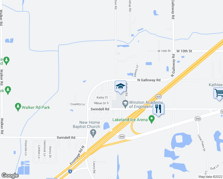 map of restaurants, bars, coffee shops, grocery stores, and more near 1124 Mercury Drive East in Lakeland