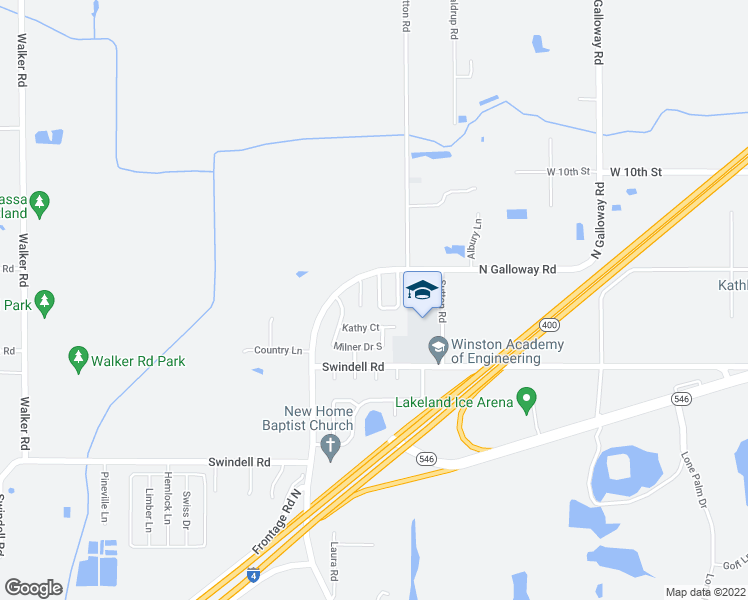 map of restaurants, bars, coffee shops, grocery stores, and more near 1122 Mercury Drive West in Lakeland