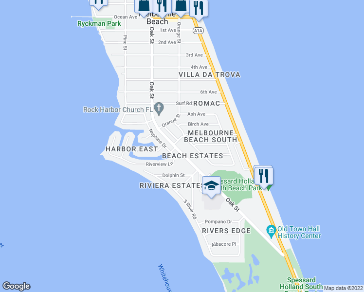 map of restaurants, bars, coffee shops, grocery stores, and more near 2003 Oak Street in Melbourne Beach
