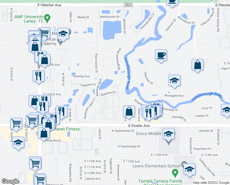 map of restaurants, bars, coffee shops, grocery stores, and more near 11930 Lakemist Circle in Tampa