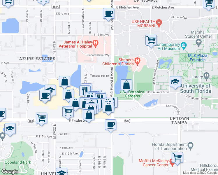 map of restaurants, bars, coffee shops, grocery stores, and more near 12206 Bruce B Downs Boulevard in Tampa
