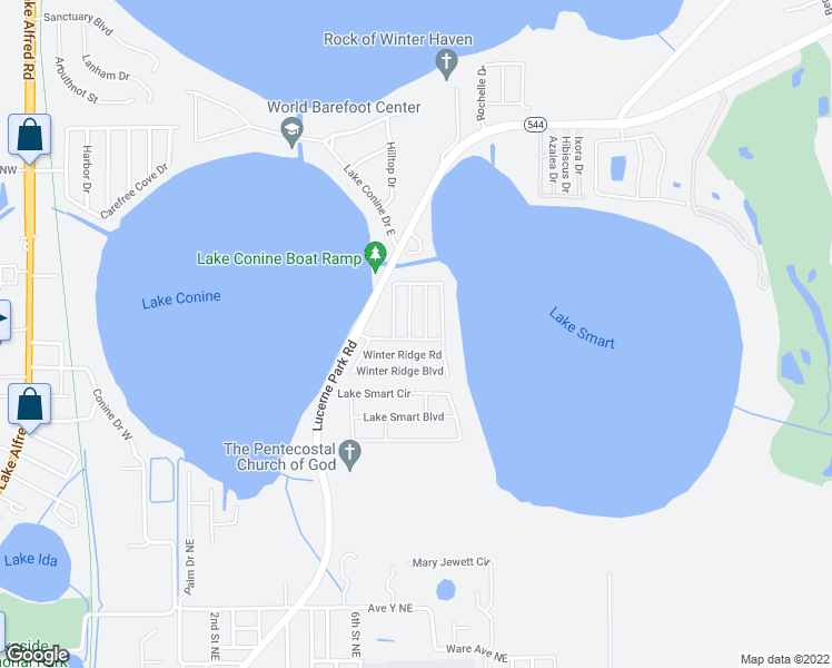 map of restaurants, bars, coffee shops, grocery stores, and more near 414 Winter Ridge Boulevard in Winter Haven
