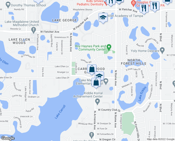 map of restaurants, bars, coffee shops, grocery stores, and more near 12237 Armenia Gables Circle in Tampa