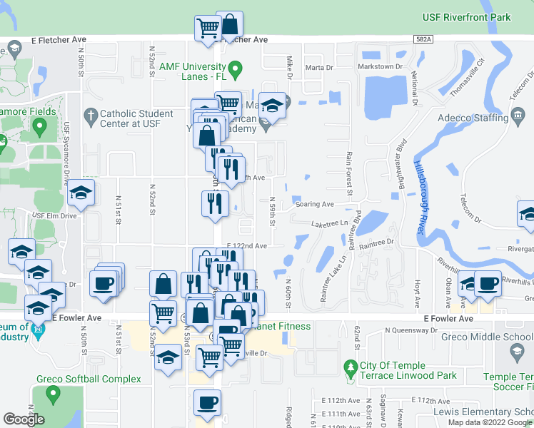 map of restaurants, bars, coffee shops, grocery stores, and more near 12216 North 59th Street in Tampa