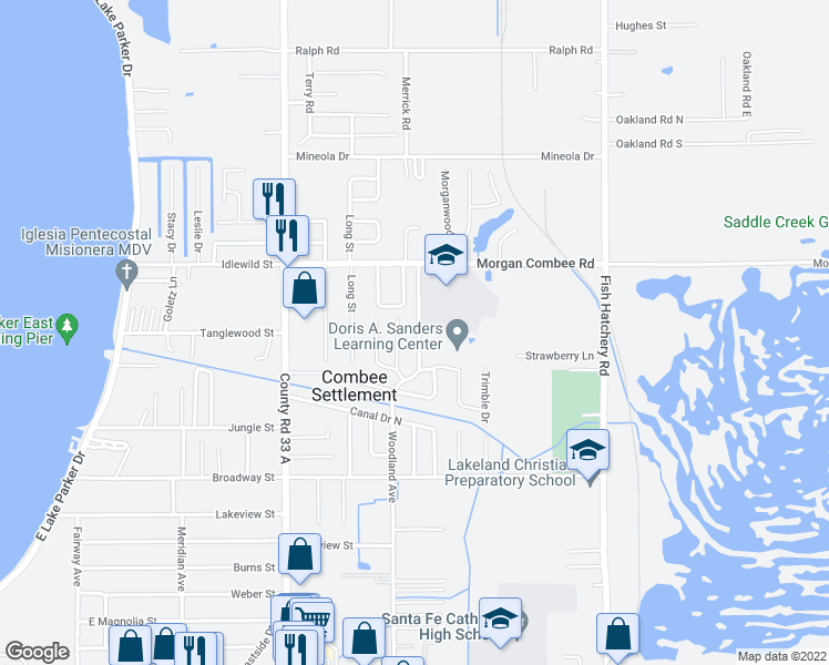 map of restaurants, bars, coffee shops, grocery stores, and more near 1248 Woodland Avenue in Lakeland