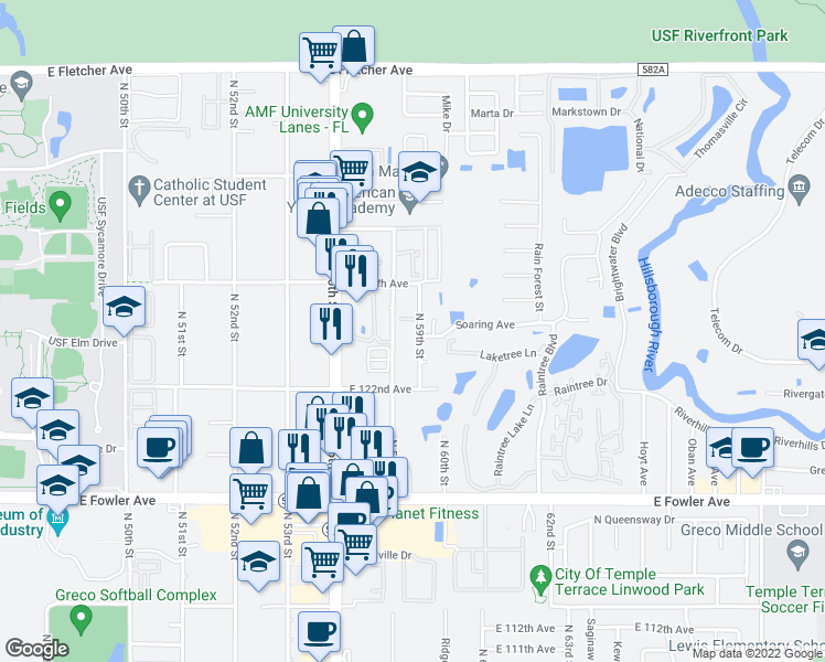 map of restaurants, bars, coffee shops, grocery stores, and more near 5862 Nature Terrace Cove in Tampa
