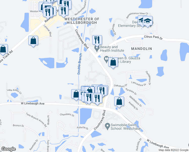 map of restaurants, bars, coffee shops, grocery stores, and more near 12112 Sugarloaf Key Street in Westchase