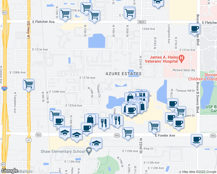 map of restaurants, bars, coffee shops, grocery stores, and more near 1811 Tinsley Circle in Tampa