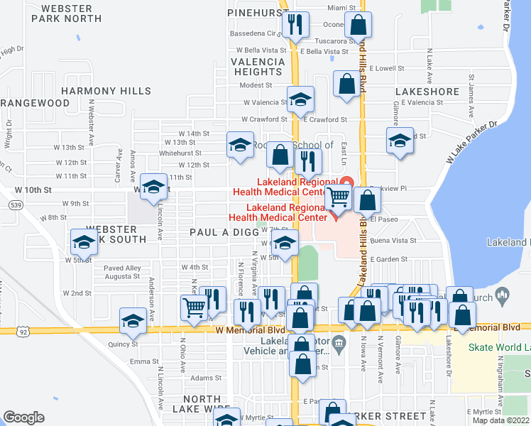 map of restaurants, bars, coffee shops, grocery stores, and more near 303 West 8th Street in Lakeland