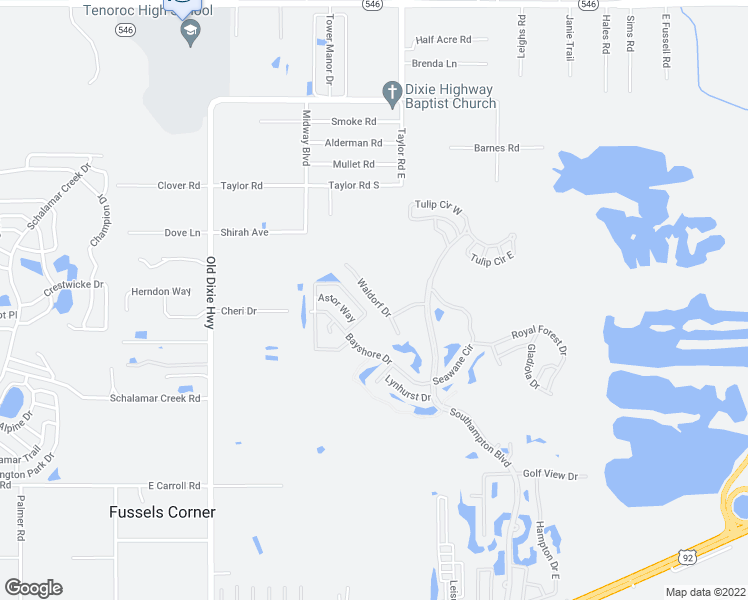 map of restaurants, bars, coffee shops, grocery stores, and more near 345 Waldorf Drive in Auburndale